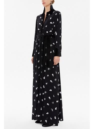 Societa Kadife Karşımlı Bol Kesim Uzun Elbise 92568 Siyah